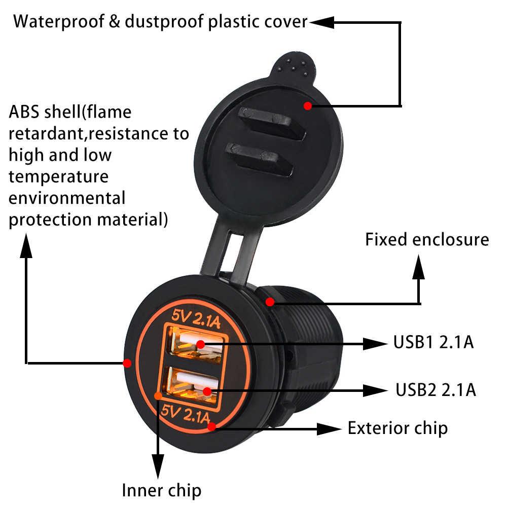 Onever ładowarka samochodowa USB 5V2. 1A LED miernik napięcia tablet z funkcją telefonu gniazdo ładowarki dla Auto Truck ATV łódź motocykl