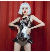 Jazz Costumes Women DJ DS Gogo Dancer Outfit Nightclub Singers Silver Bodysuit Pole Dance Jumpsuit Rave Dancing Wear
