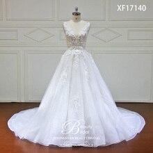 חתונה high end שמלה 2019 עם תחרה פרח קריסטל Vestido דה Novia Vintage חתונת שמלות שמלת כלה תמונה אמיתית XF17140