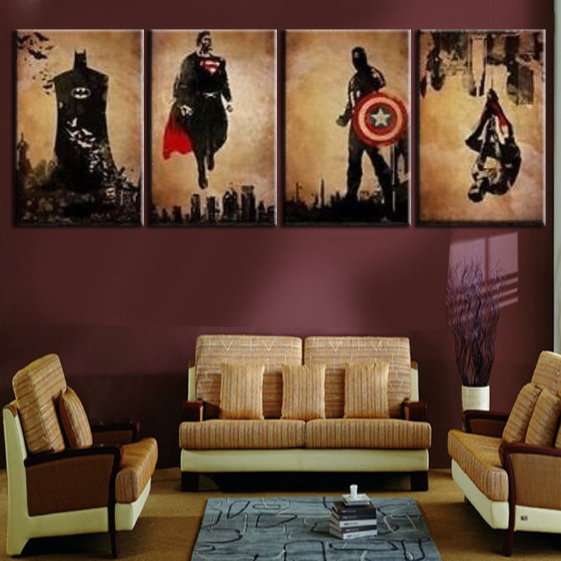 Online get cheap superhero canvas wall art for Wall decor paintings