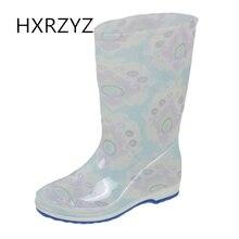 HXRZYZ женщин плюс хлопок дождь сапоги женщин резиновые сапоги новая мода печать водонепроницаемый скольжения устойчиво весной / осень женщины обувь