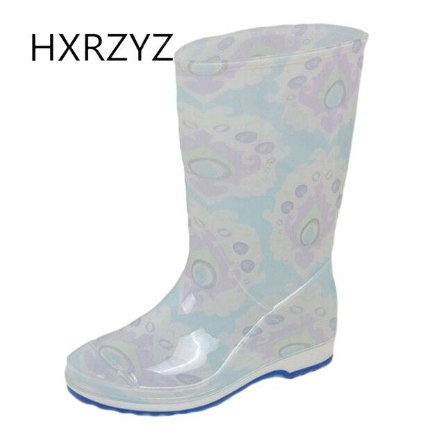 HXRZYZ feminino mais botas de chuva de algodão botas de borracha feminina  nova moda impressão impermeável 744df74053