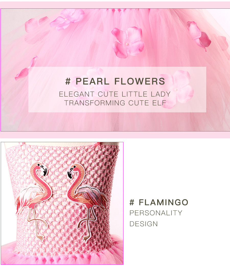 Girls Flamingo Princess Dress Pink Flower Tulle Clothes Kids Birthday Party Dresses 2018 Brand Animal Costume Flamingo Vestidos (10)