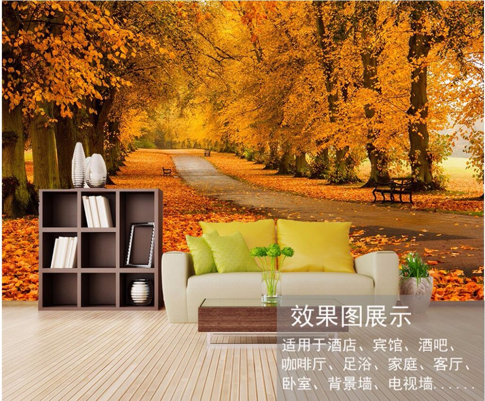 popular autumn forest wall mural buy cheap autumn forest wall custom photo 3d wallpaper non woven autumn yellow path in the forest decoration painting 3d