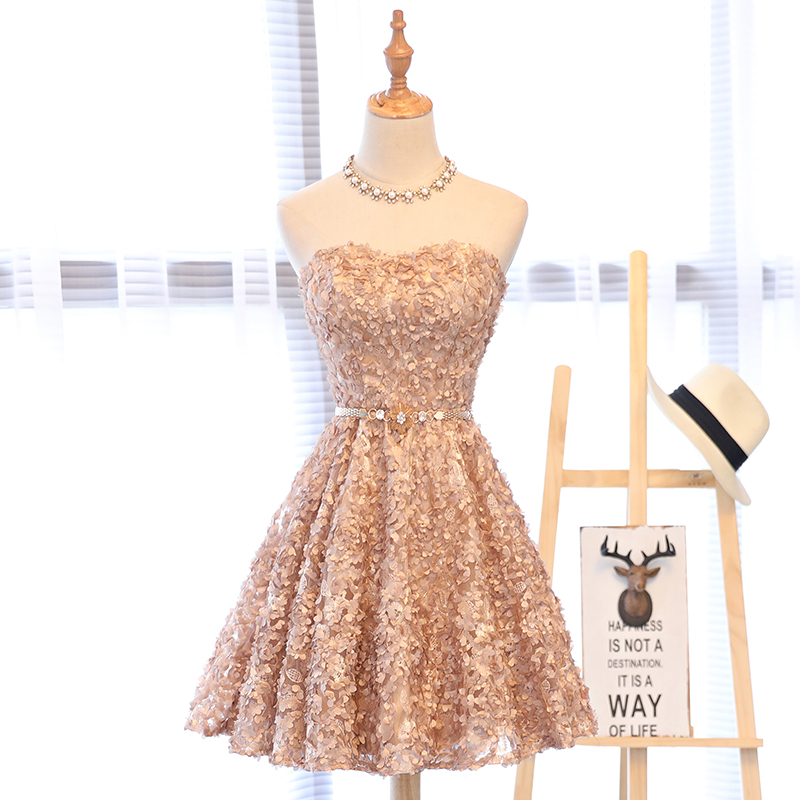 A-line Sweetheart Backless Lace-up Knee-length Short Prom Dress
