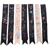 Letter New Style Print Lady Neck Bags Decoration Silk Twilly Skinny Scarf Small Ribbon Hair Band