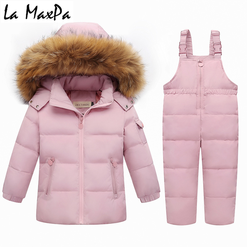 0bf213363 Baby Girl Winter Clothes Sets Hooded Down Jacket Bow Print Overalls  Jumpsuits Snow Wear Children Toddler Clothing 2 3 4 5 Years