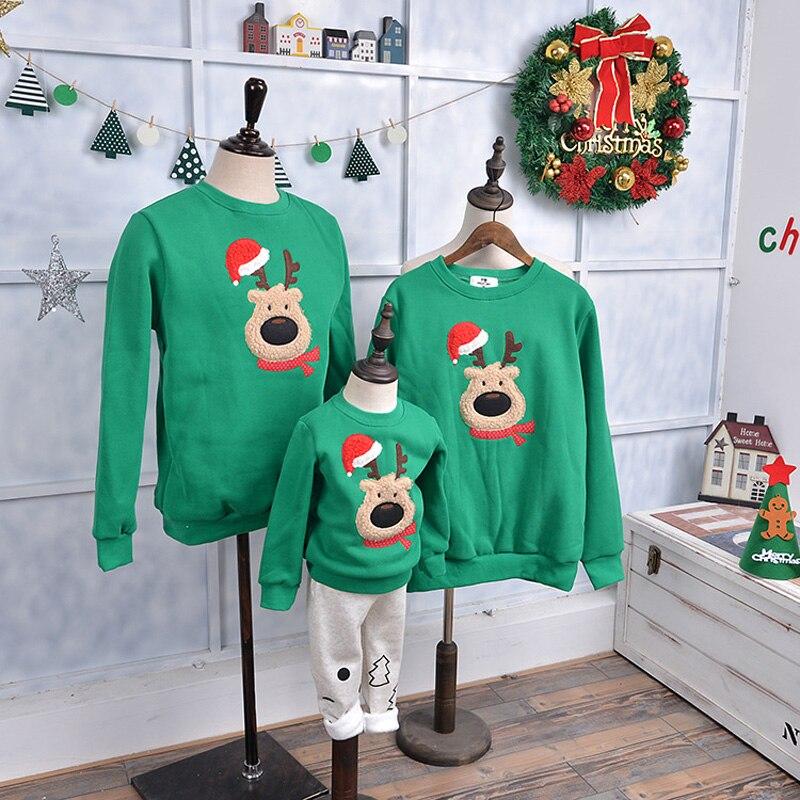 Family Matching Outfits 2018 Winter Christmas Sweatshirt Cute Deer Children Clothing Kid T-shirt Add Wool Warm Family Clothes недорго, оригинальная цена