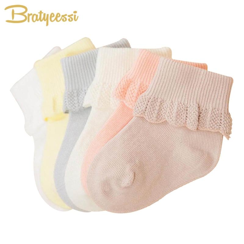 6 paires dentelle bébé chaussettes pour filles coton princesse nouveau-né chaussettes pour les tout-petits mélanger les couleurs 0-3 ans (lot de 6)