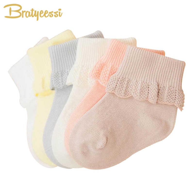 6 זוגות תחרה תינוק גרבי עבור בנות כותנה נסיכת יילוד גרביים לפעוטות לערבב צבעים 0-3 שנים