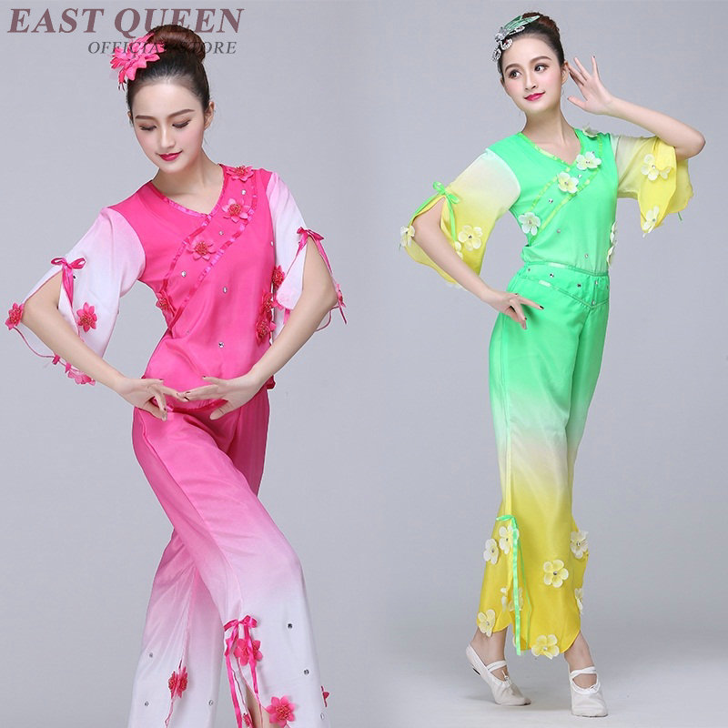 Chinese folk dance clothing pant suits Chinese dance costumes yango drum  fan stage dance wear outfit performance FF741-in Chinese Folk Dance from  Novelty ... 49d6bd490
