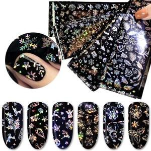 Nail Art Transparent Decals 8 Pcs Laser Nail Foil 4*60cm Geometric Unicorn Rose Flower Transfer Sticker Manicure Decoration