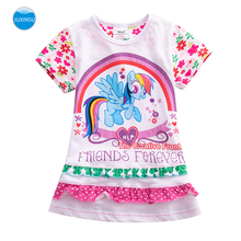 JUXINSU My Baby Girl Little Pony Rainbow Cartoon Summer Short Sleeve Dresses Cotton Pony Dress for Girls Clothes 1-6 Years samgami baby new summer cute dress little girls dress my pony spring girl short sleeve dresses my girls princess for little pony