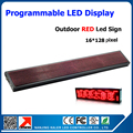 Outdoor led panel screen p10 single red programmable and scrolling message led display 16*128dots 25*137cm outdoor led sign