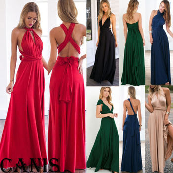 Sexy Women dress  multi wear Formal Long Dress Prom Evening Party backless deep v neck Wedding dress formal wear