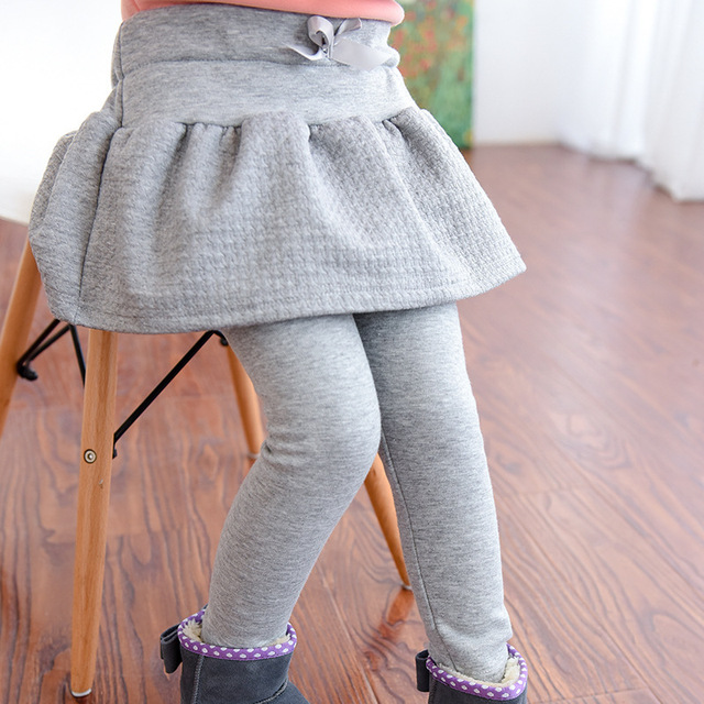 Retail Kids Pants Children's Clothing Girls Casual Solid Thick Velvet Princess Skirt Leggings Next Winter Baby Trousers 2-8Y