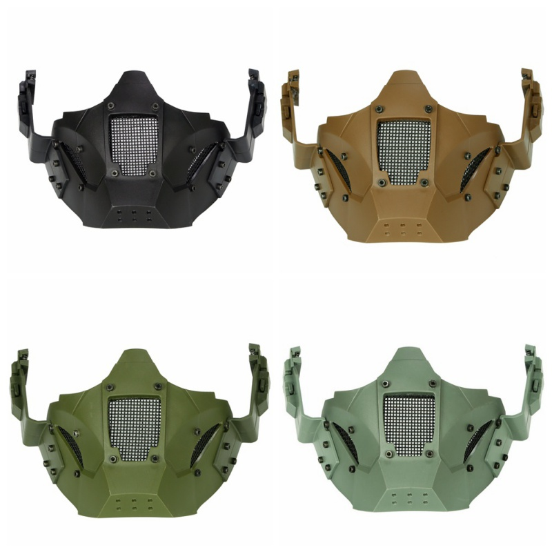 face mask Airsoft Steel Mesh Mask Tactical Half Face FAST Helmet Lower Face Protective Mask Breathable Adjustable car seat