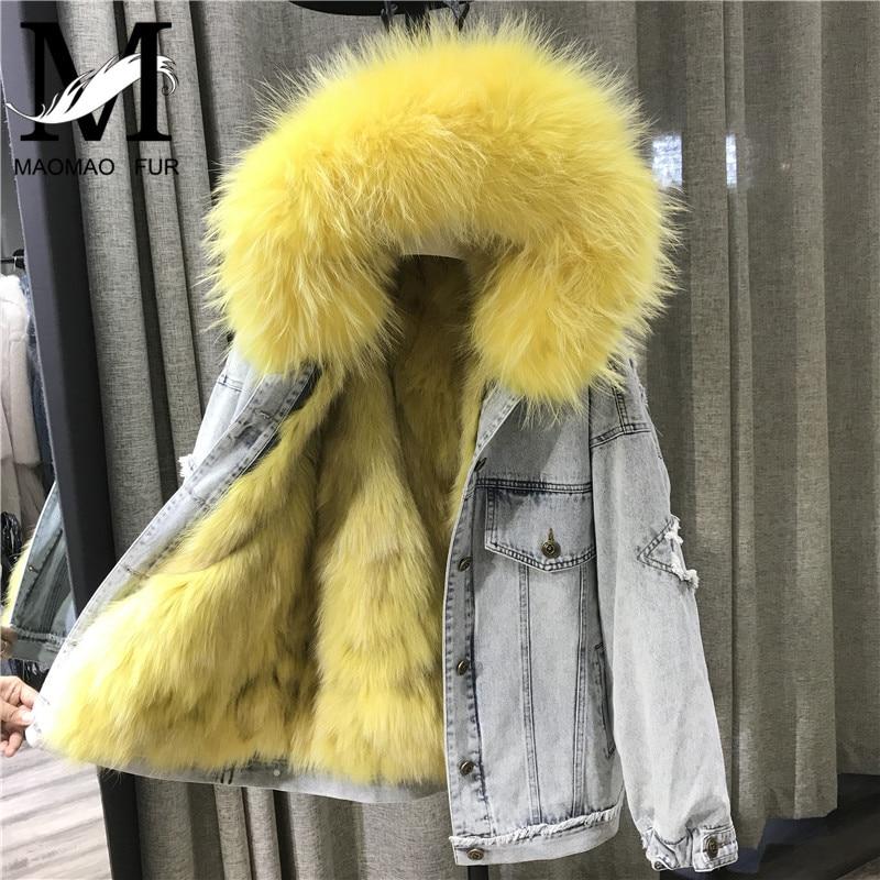 Winter Natural Fox Fur Parka Women Real Big Raccoon Fur Hood Denim Jacket Ladies Luxury Fur Parkas