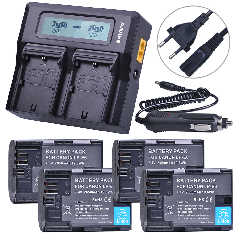 4 Pcs 7.4 V 2650 mAh LP-E6 LPE6 LP E6 Batterie + Rapide LCD Double Chargeur pour Canon 5D Mark II/III 6D 7D 60D 60Da 70D DSLR EOS 5D