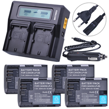 4Pcs 7 4V 2650mAh LP E6 LPE6 LP E6 Battery Rapid LCD Dual Charger for Canon