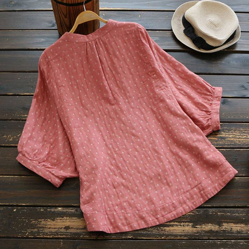 Tops Mujer Mujeres Vintage Floral Batwing Estampado Azul rosado Lino Algodón Manga Blusas Y Las De Mferlier Camisas Casual qUdvnHH5