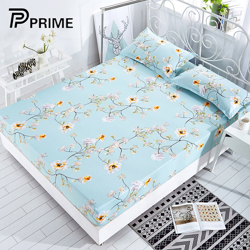100%Polyester Fitted Sheet Mattress Cover mat Printing Bedding Linens Bed Sheets With Elastic Band bedspread Bed Linens
