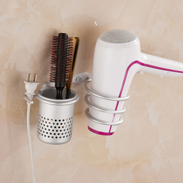 wall mounted hair dryer holder aluminum drier comb holder rack stand set storage organizer bathroom beautician