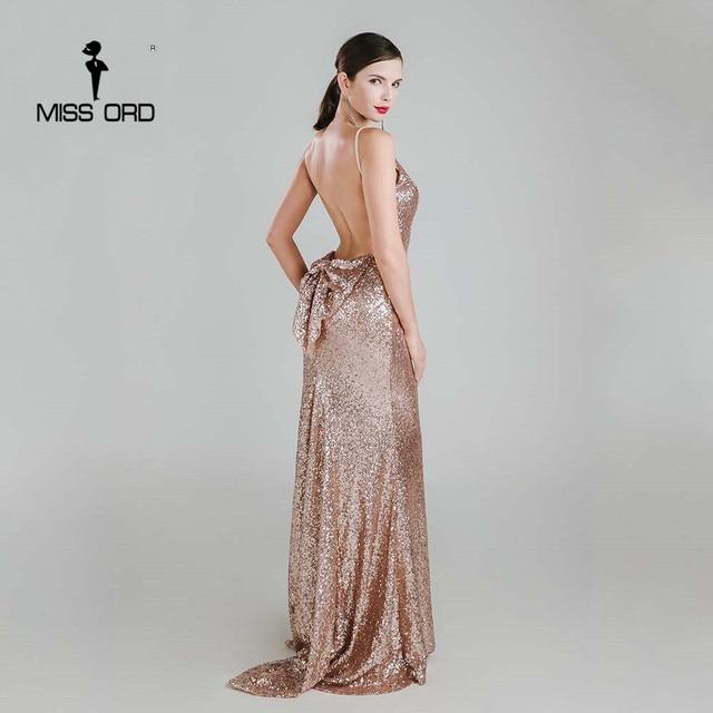 Missord 2019 Sexy halter Bow V-neck  party dress sequin maxi dress FT3995