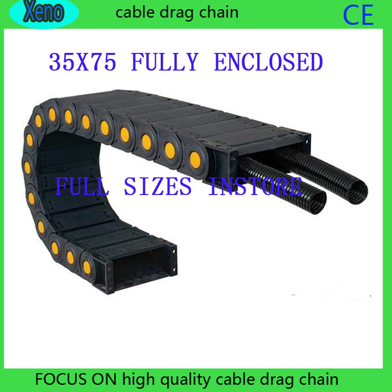 Free Shipping 35x75 1 Meter Fully Enclosed Type Plastic Conveyor Chain 20 series 1 meter plastic conveyor chain