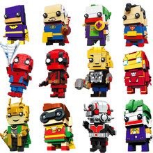 New Avengers Brickheadz 3 Infinito Guerra Ironman Spiderman Marvel Super Herói Tijolo Cabeças Bocks Construção Brinquedo do Miúdo Com Legoing Headz(China)