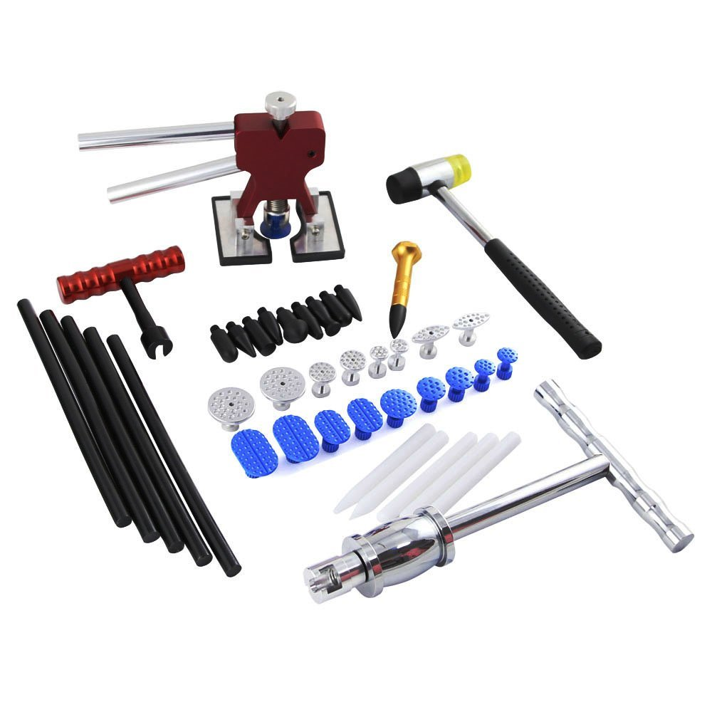 Hail Repair Kit - Dent Lifter Silde Hammer Puller with Tap Down - Pulling Tab & Glue Stick - Paintless Dent Repair Tool 5 second fix liquid plastic welding kit uv light repair tool glue kit