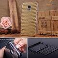 Caixa de alumínio de metal para samsung s5 fibra de carbono tampa traseira caso para samsung galaxy s5 i9600 original do telefone sacos de casos habitação