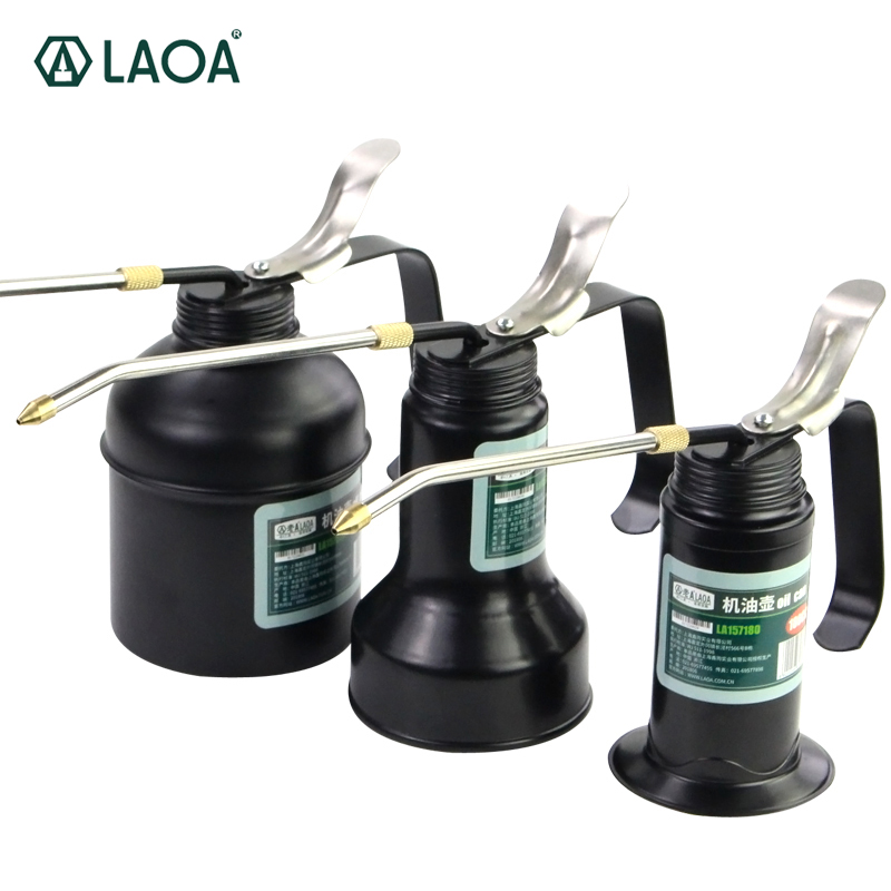 LAOA HVLP Engrasador 180cc / 300cc / 500cc Máquina Engrasador Bomba Alta presión Pico largo Aceite Lata Olla Herramientas manuales para lubricar Aerógrafo