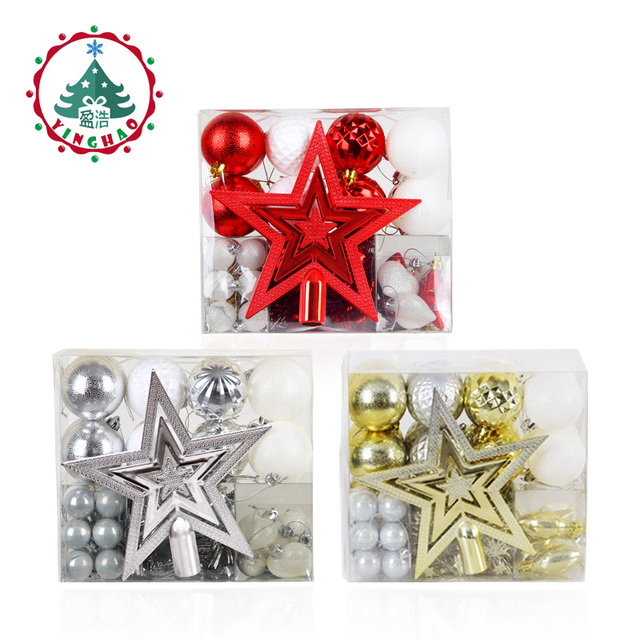 inhoo 50pcs/set Christmas Balls Gift Box Polystyrene Decor Balls Baubles Xmas Party Hanging Ball Drop Pendant Ornaments for Home