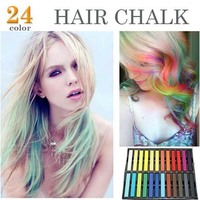 24 PCS Colors Fashion Hot Fast Non Toxic Temporary Pastel Hair Dye Color Chalk Free Shipping