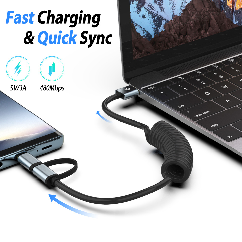 Image 3 - Usb Charger Type Tupe C Micro Usb Fast Charging Cable Coiled Cabel 2 In 1 Usb c Cable For Xiaomi Redmi Note 7 5 Samsung Note 10-in Mobile Phone Chargers from Cellphones & Telecommunications on