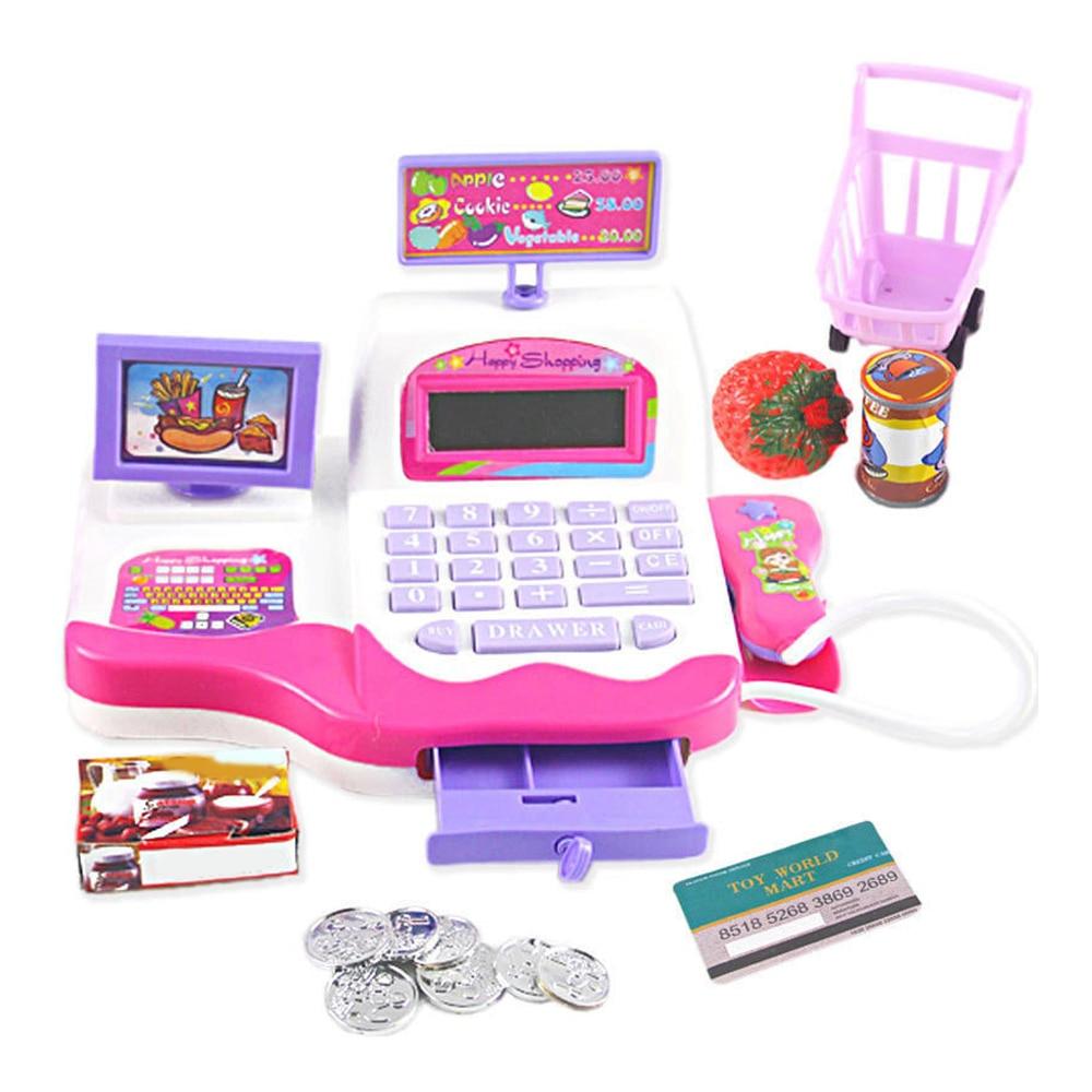 Kids Simulation Cash Register Calculator Cashier Pretend Play Toy Children Early
