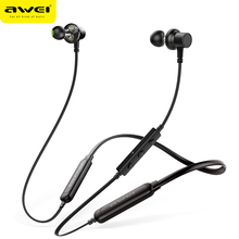 AWEI G20BLS Bluetooth Earphone Wireless Earphones Headphones With Mic Dual Driver Battery 14H Playback Headset For iPhone Xiaomi все цены