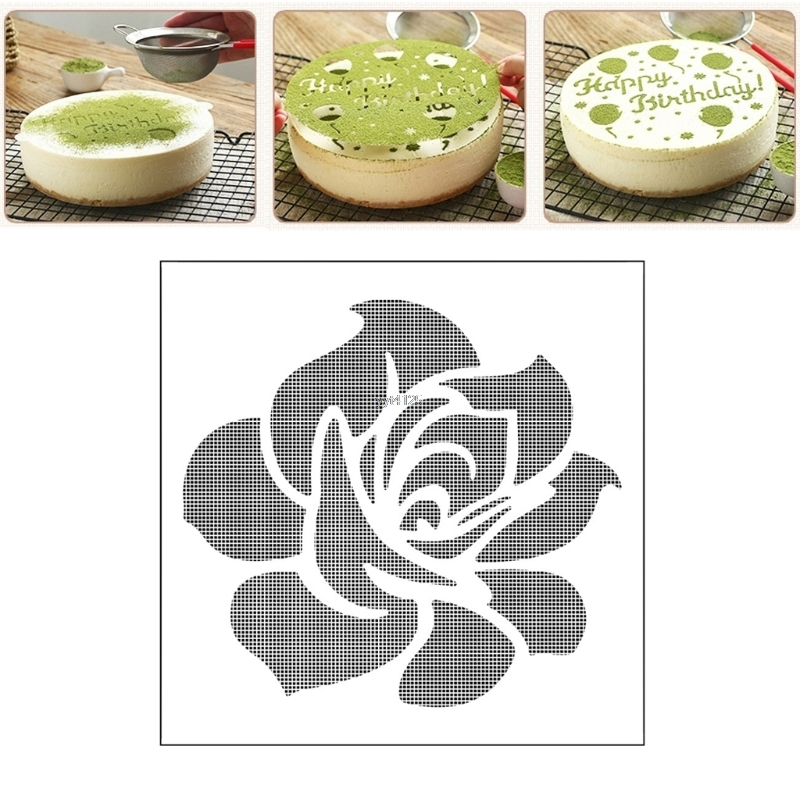 Elegant Rose Spray Cake Mold Strew Pad Duster Fondant Art Stencil Decoration Decorating Tools Sugarcraft Mar