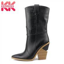 391609116a30b9 KemeKiss grande taille 33-46 femmes mi-mollet bottes hiver Plaid marque  nouveau chaussures