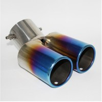 YZ bend blue double pipe Universal Exhaust Tailpipe 63mm Muffler Stainless Steel End exhaust pipe protect styling