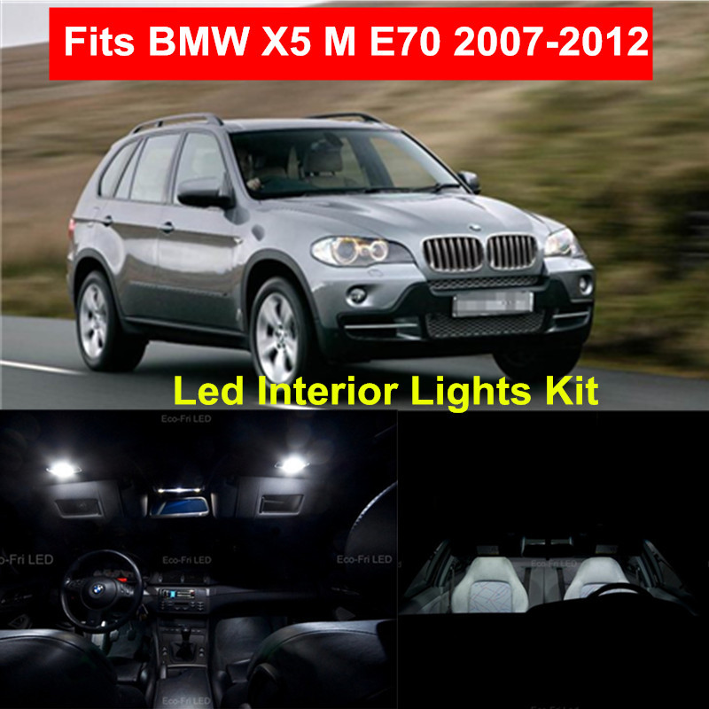 WLJH 18pcs Kits de paquete de luces interiores LED Canbus LED sin error súper brillantes para BMW X5 M E70 2007-2012