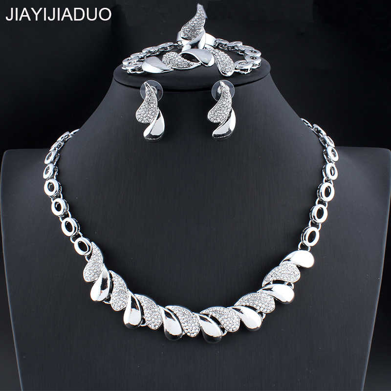 jiayijiaduo Silver Color Wedding Crystal Jewelry Set for Glamour Women Necklace Earrings Bracelet Ring Sets Dress Accessories