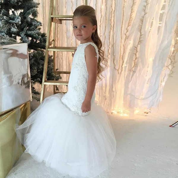 fcc21ecb0b4 ... 2019 Mermaid Flower Girls Dresses for Wedding Party Trumpet Kids Little  Girl Pageant Communion Dresses Cute ...