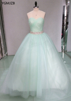 2018 Quinceanera Dresses Ball Gown Sweetheart Beaded Crystal Tulle Puffy Long Prom Dress Sweet 16 Dresses
