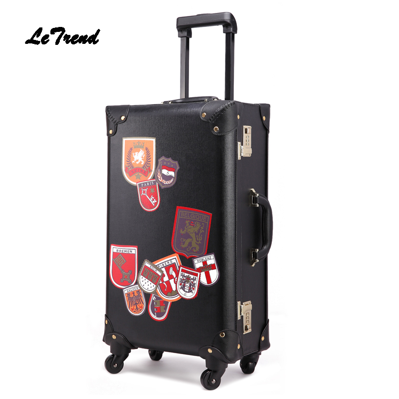 Letrend Retro PU Leather Suitcase Wheels Rolling Luggage Spinner Women Fashion Trolley Student Travel Bag Men Carry On Trunk цена