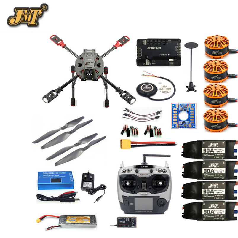 JMT 2.4GHz 4-Aixs RC Drone APM2.8 Flight Controller M7N GPS J630 Carbon Fiber Frame Props with AT9S TX Headless Mode Quadcopter original naza gps for naza m v2 flight controller with antenna stand holder free shipping