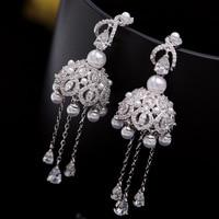 Fashion accessories S925 sterling silver needle wind bell micro set zircon ear earrings fringed pearl wedding dinner