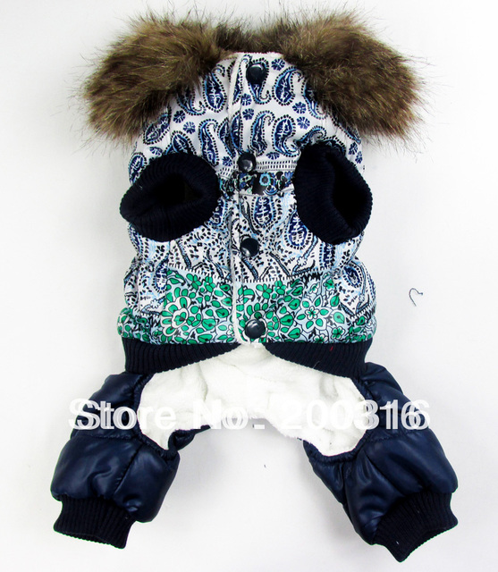 New Blue and white bubble padded luxury fur pet dogs winter coat Free shipping dogs clothes