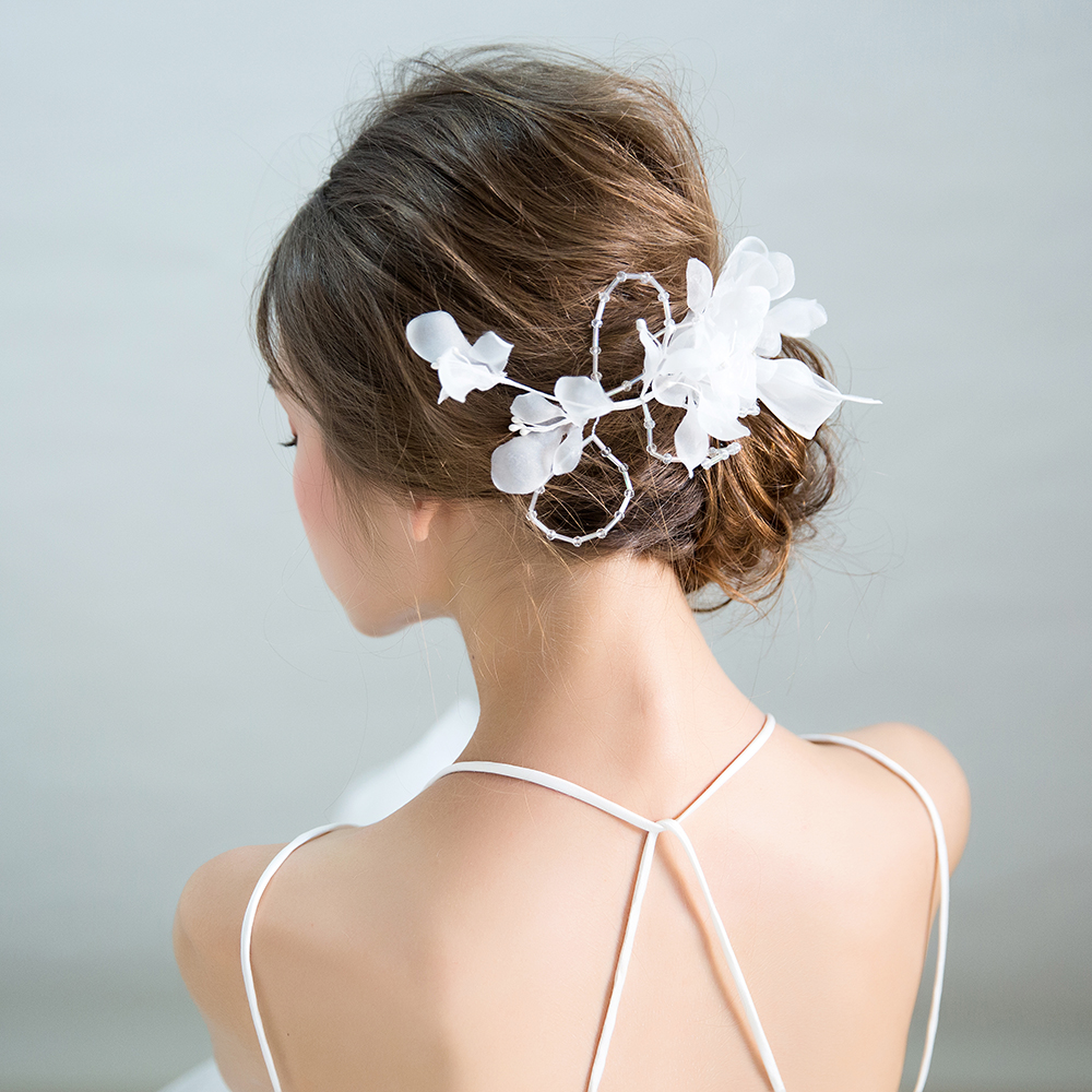 White Yarn Flower Hair Clips Princess Korean Style Hairgrips Bridal